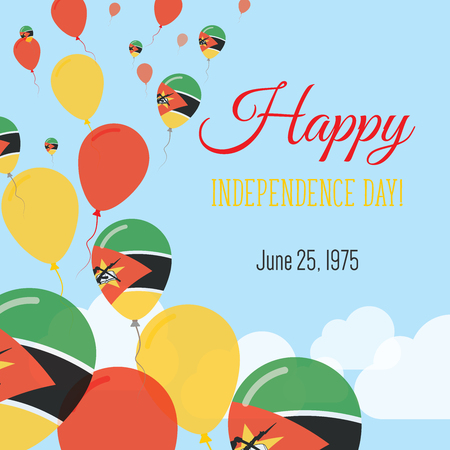 Independence Day Flat Greeting Card. Mozambique Independence Day. Mozambican Flag Balloons Patriotic Poster. Happy National Day Vector Illustration.