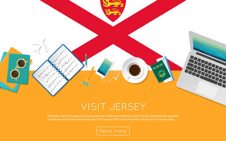on top of the world: Visit Jersey concept for your web banner or print materials. Top view of a laptop, sunglasses and coffee cup on Jersey national flag. Flat style travel planninng website header. Illustration