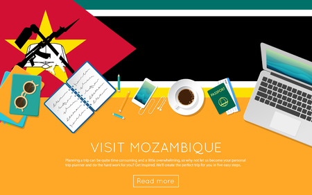 Visit Mozambique concept for your web banner or print materials. Top view of a laptop, sunglasses and coffee cup on Mozambique national flag. Flat style travel planninng website header. Фото со стока - 87280793