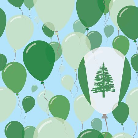 Norfolk Island National Day Flat Seamless Pattern. Flying Celebration Balloons in Colors of Norfolk Islander Flag. Happy Independence Day Background with Flags and Balloons.