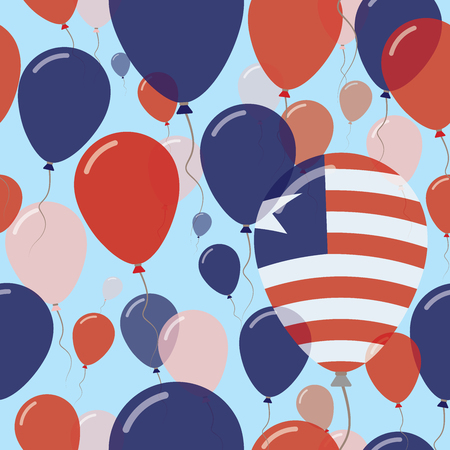 variegated: Liberia National Day Flat Seamless Pattern. Flying Celebration Balloons in Colors of Liberian Flag. Happy Independence Day Background with Flags and Balloons.