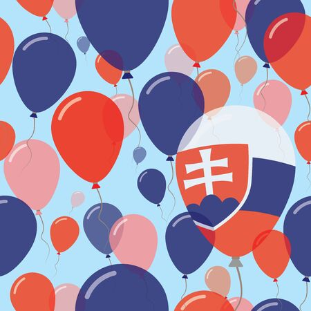 Slovakia National Day Flat Seamless Pattern. Flying Celebration Balloons in Colors of Slovak Flag. Happy Independence Day Background with Flags and Balloons. Illustration