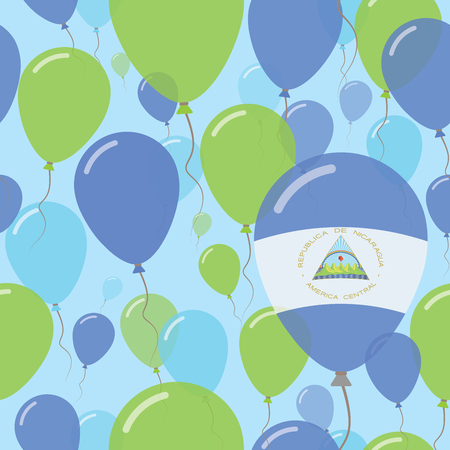 Nicaragua National Day Flat Seamless Pattern. Flying Celebration Balloons in Colors of Nicaraguan Flag. Happy Independence Day Background with Flags and Balloons.
