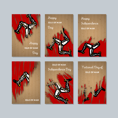 Isle of Man Patriotic Cards for National Day. Expressive Brush Stroke in National Flag Colors on kraft paper background. Isle of Man Patriotic Vector Greeting Card. Illustration