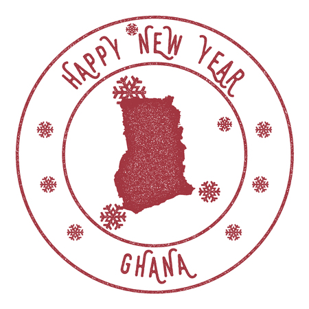 Retro Happy New Year Ghana Stamp on a white background.