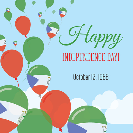 Independence Day Flat Greeting Card. Equatorial Guinea Independence Day. Equatorial Guinean Flag Balloons Patriotic Poster. Happy National Day Vector Illustration.
