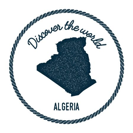 Vintage discover the world rubber stamp with Algeria map. Hipster style nautical postage stamp, with round rope border. Vector illustration.