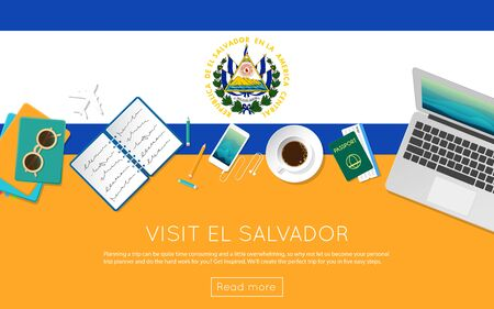 Visit El Salvador concept for your web banner or print materials. Top view of a laptop, sunglasses and coffee cup on El Salvador national flag. Flat style travel planninng website header. Illustration