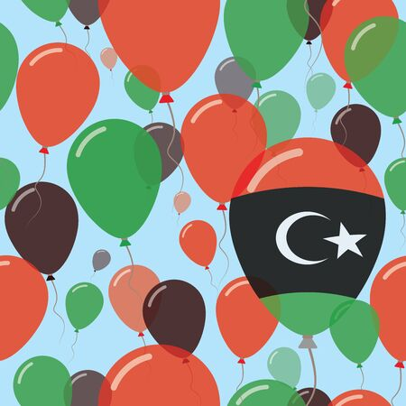 Libya National Day Flat Seamless Pattern. Flying Celebration Balloons in Colors of Libyan Flag. Happy Independence Day Background with Flags and Balloons.