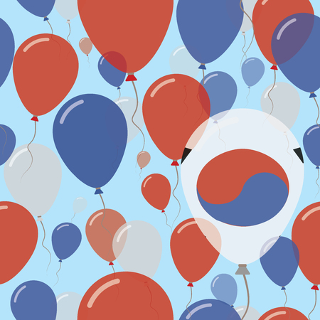 Korea, Republic of National Day Flat Seamless Pattern. Flying Celebration Balloons in Colors of South Korean Flag. Happy Independence Day Background with Flags and Balloons.