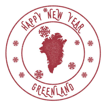 celebrate: Retro Happy New Year Greenland Stamp. Stylised rubber stamp with county map and Happy New Year text, vector illustration.