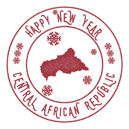 celebrate: Retro Happy New Year Central African Republic Stamp. Stylised rubber stamp with county map and Happy New Year text, vector illustration. Illustration