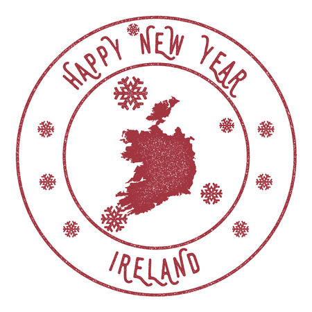politic: Retro Happy New Year Ireland Stamp. Stylised rubber stamp with county map and Happy New Year text, vector illustration.