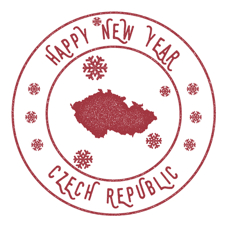 politic: Retro Happy New Year Czech Republic Stamp. Stylised rubber stamp with county map and Happy New Year text, vector illustration.