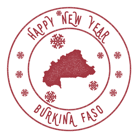 Retro Happy New Year Burkina Faso Stamp. Stylised rubber stamp with county map and Happy New Year text, vector illustration.