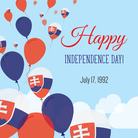 politic: Independence Day Flat Greeting Card. Slovakia Independence Day. Slovak Flag Balloons Patriotic Poster. Happy National Day Vector Illustration. Illustration