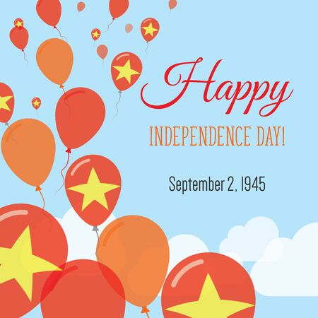 Independence Day Flat Greeting Card. Vietnam Independence Day. Vietnamese Flag Balloons Patriotic Poster. Happy National Day Vector Illustration. Illustration