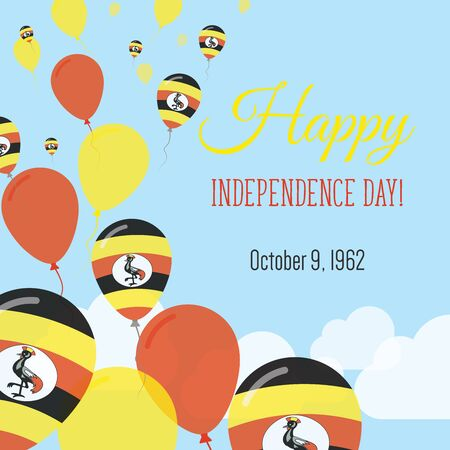 Independence Day Flat Greeting Card. Uganda Independence Day. Ugandan Flag Balloons Patriotic Poster. Happy National Day Vector Illustration.