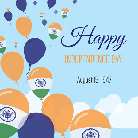 celebrate: Independence Day Flat Greeting Card. India Independence Day. Indian Flag Balloons Patriotic Poster. Happy National Day Vector Illustration.