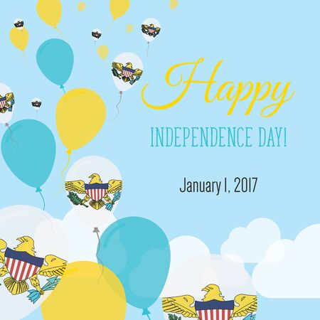 Independence Day Flat Greeting Card. Virgin Islands of the United States Independence Day. Virgin Islander Flag Balloons Patriotic Poster. Happy National Day Vector Illustration. Illustration