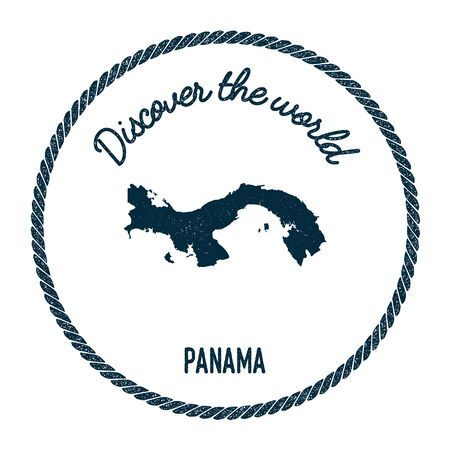 Vintage discover the world rubber stamp with Panama map. Hipster style nautical postage stamp, with round rope border. Vector illustration.