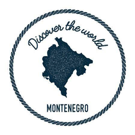 Vintage discover the world rubber stamp with Montenegro map. Hipster style nautical postage stamp, with round rope border. Vector illustration.