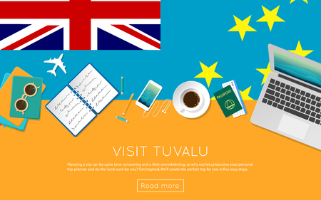 Visit Tuvalu concept for your web banner or print materials. Top view of a laptop, sunglasses and coffee cup on Tuvalu national flag. Flat style travel planninng website header.