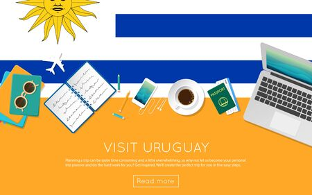 Visit Uruguay concept for your web banner or print materials. Top view of a laptop, sunglasses and coffee cup on Uruguay national flag. Flat style travel planninng website header.