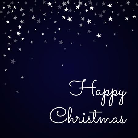 clutter: Happy Christmas greeting card. Random falling stars background. Random falling stars on deep blue background. Gorgeous vector illustration. Illustration