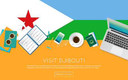 Visit Djibouti concept for your web banner or print materials. Top view of a laptop, sunglasses and coffee cup on Djibouti national flag. Flat style travel planninng website header.