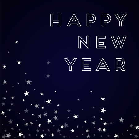 clutter: Happy New Year greeting card. Random falling stars background. Random falling stars on deep blue background. Graceful vector illustration.
