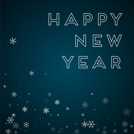 clutter: Happy New Year greeting card. Sparse snowfall background. Sparse snowfall on blue background. Graceful vector illustration. Illustration