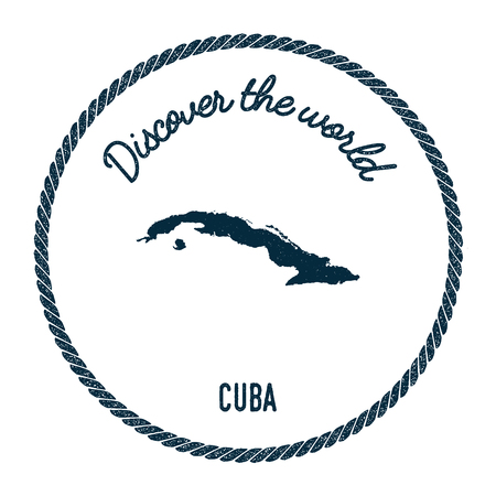 politic: Vintage discover the world rubber stamp with Cuba map