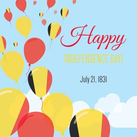 Independence Day Flat Greeting Card. Belgium Independence Day. Belgian Flag Balloons Patriotic Poster. Happy National Day Vector Illustration. 일러스트