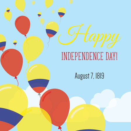 Independence Day Flat Greeting Card. Colombia Independence Day. Colombian Flag Balloons Patriotic Poster. Happy National Day Vector Illustration.