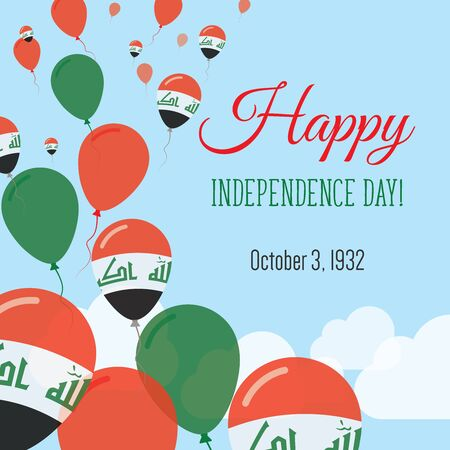 Independence Day Flat Greeting Card. Iraq Independence Day. Iraqi Flag Balloons Patriotic Poster. Happy National Day Vector Illustration.