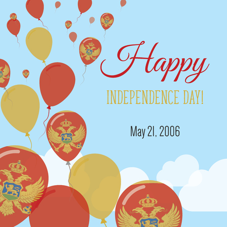 Independence Day Flat Greeting Card. Montenegro Independence Day. Montenegrin Flag Balloons Patriotic Poster. Happy National Day Vector Illustration. Illustration