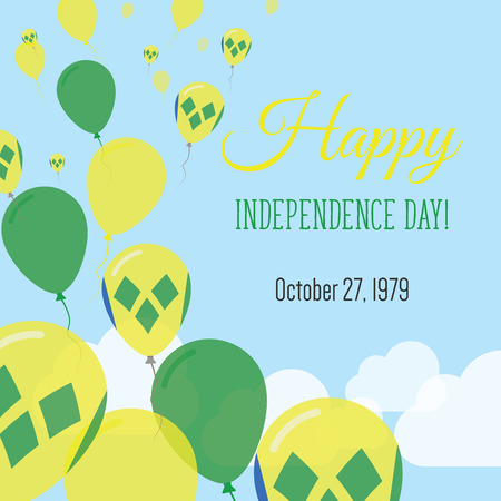Independence Day Flat Greeting Card. Saint Vincent And The Grenadines Independence Day. Saint Vincentian Flag Balloons Patriotic Poster. Happy National Day Vector Illustration.