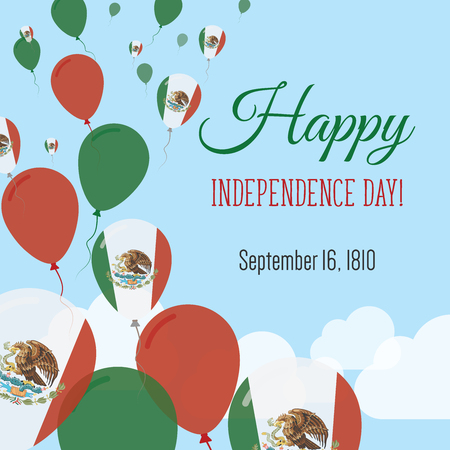 Independence day flat greeting card mexico independence day independence day flat greeting card mexico independence day mexican flag balloons patriotic poster m4hsunfo