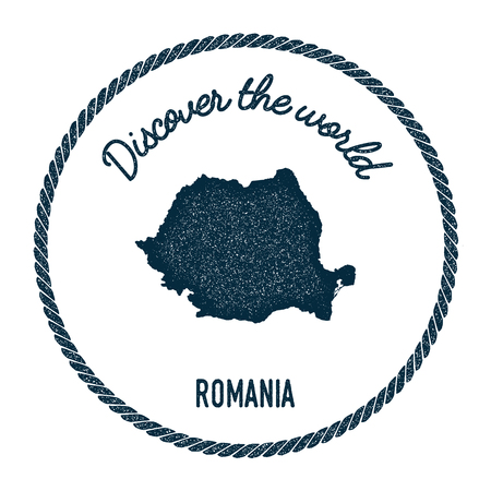 rom: Vintage discover the world rubber stamp with Romania map. Hipster style nautical postage stamp, with round rope border. Vector illustration.