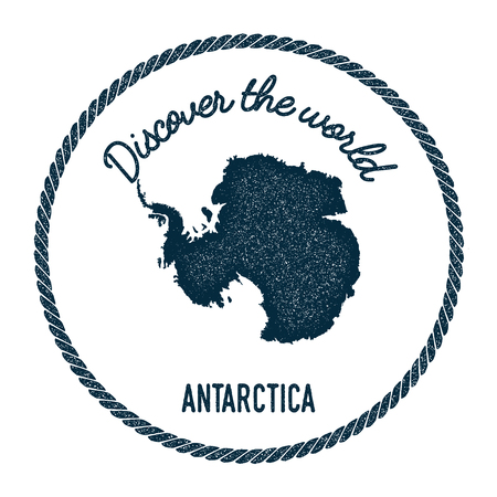 Vintage discover the world rubber stamp with Antarctica map. Hipster style nautical postage stamp, with round rope border. Vector illustration. Illustration