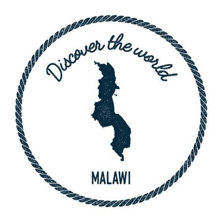 Vintage discover the world rubber stamp with Malawi map. Hipster style nautical postage stamp, with round rope border. Vector illustration.
