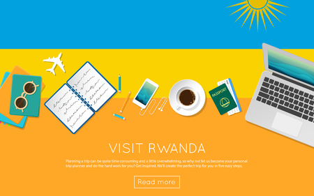vacation with laptop: Visit Rwanda concept for your web banner or print materials.