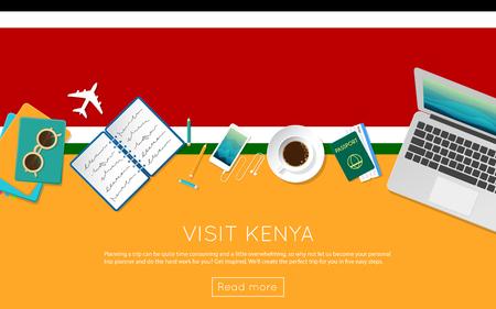 Visit Kenya concept for your web banner or print materials. Illustration