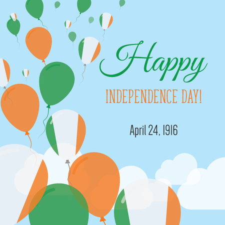 Independence Day Flat Greeting Card. Ireland Independence Day. Irish Flag Balloons Patriotic Poster. Happy National Day Vector Illustration.