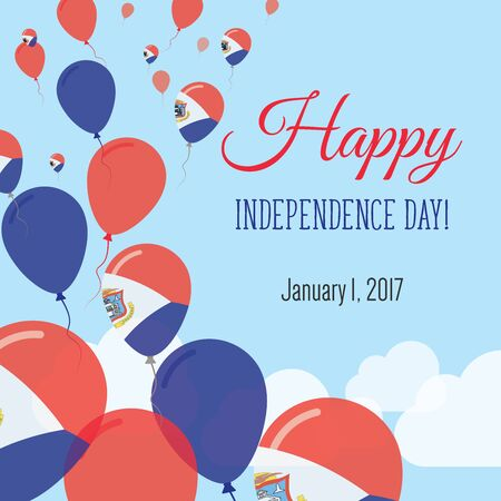 Independence Day flat greeting card vector illustration.