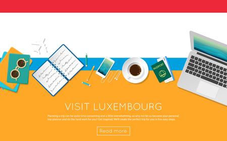 vacation with laptop: Visit Luxembourg concept for your web banner or print materials.
