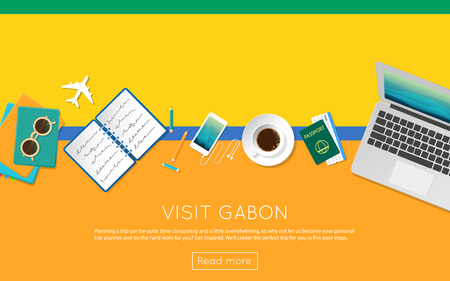 vacation with laptop: Visit Gabon concept for your web banner or print materials. Top view of a laptop, sunglasses and coffee cup on Gabon national flag. Flat style travel planninng website header. Illustration