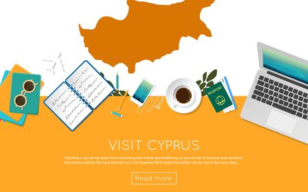 Visit Cyprus concept for your web banner or print materials. Top view of a laptop, sunglasses and coffee cup on Cyprus national flag. Flat style travel planninng website header.