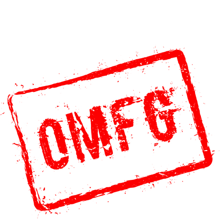 Omfg red rubber stamp isolated on white background. Grunge rectangular seal with text, ink texture and splatter and blots, vector illustration. Illustration